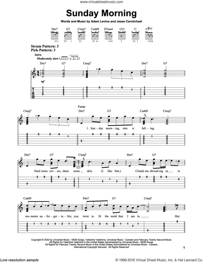 Sunday Morning sheet music for guitar solo (easy tablature) by Maroon 5, Adam Levine and Jesse Carmichael, easy guitar (easy tablature)