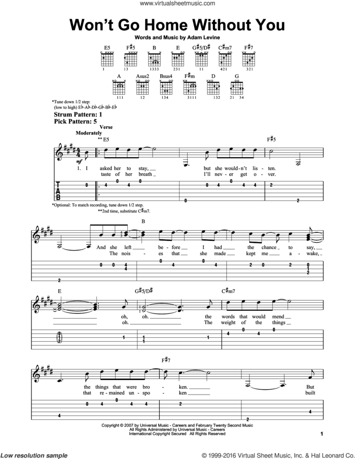 Won't Go Home Without You sheet music for guitar solo (easy tablature) by Maroon 5 and Adam Levine, easy guitar (easy tablature)