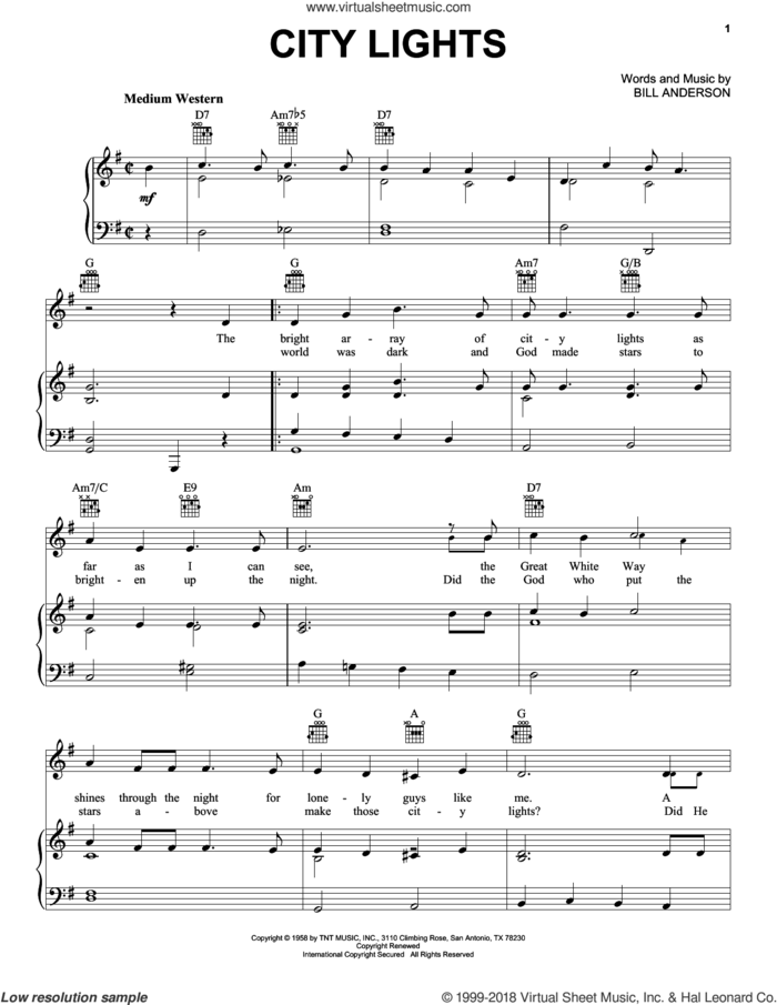 City Lights sheet music for voice, piano or guitar by Bill Anderson, Debbie Reynolds, Ivory Joe Hunter and Ray Price, intermediate skill level