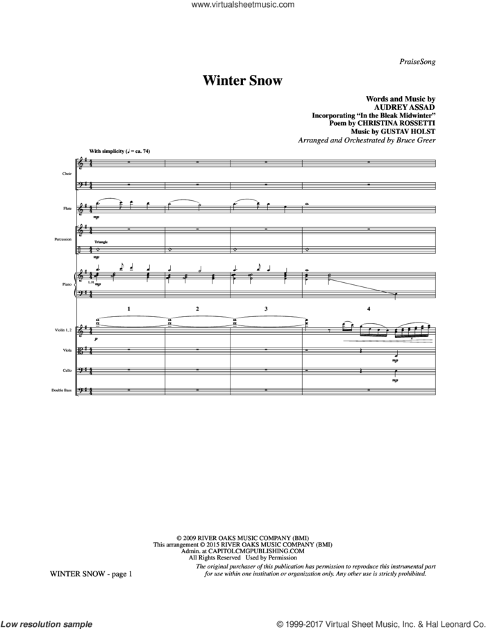 Winter Snow (COMPLETE) sheet music for orchestra/band by Chris Tomlin, Audrey Assad and Bruce Greer, intermediate skill level