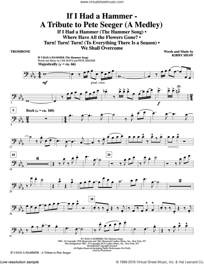 If I Had A Hammer, a tribute to pete seeger sheet music for orchestra/band (trombone) by Pete Seeger, Kirby Shaw, Peter, Paul & Mary, Trini Lopez and Lee Hays, intermediate skill level