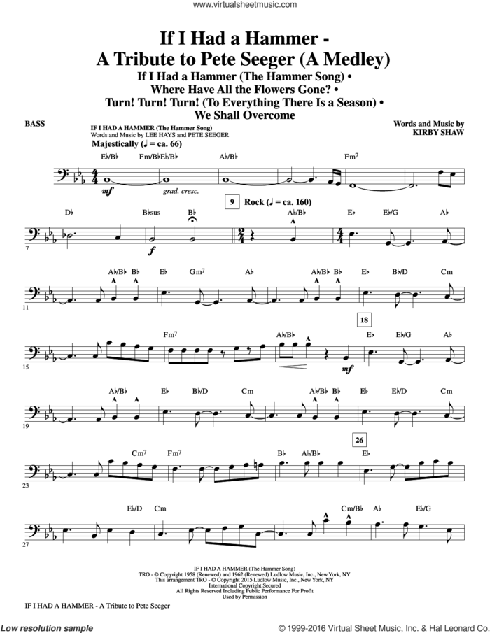 If I Had A Hammer, a tribute to pete seeger sheet music for orchestra/band (bass) by Pete Seeger, Kirby Shaw, Peter, Paul & Mary, Trini Lopez and Lee Hays, intermediate skill level