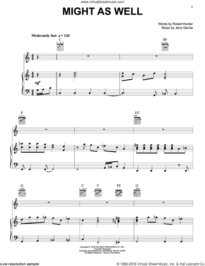 Might As Well sheet music for voice, piano or guitar by Grateful Dead, Jerry Garcia and Robert Hunter, intermediate skill level