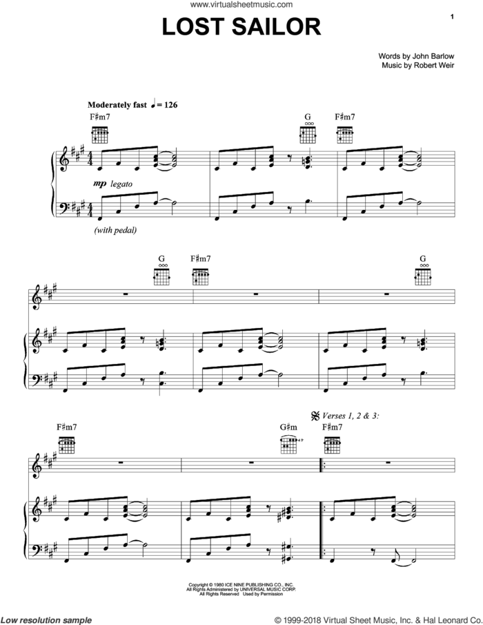 Lost Sailor sheet music for voice, piano or guitar by Grateful Dead, John Barlow and Robert Weir, intermediate skill level