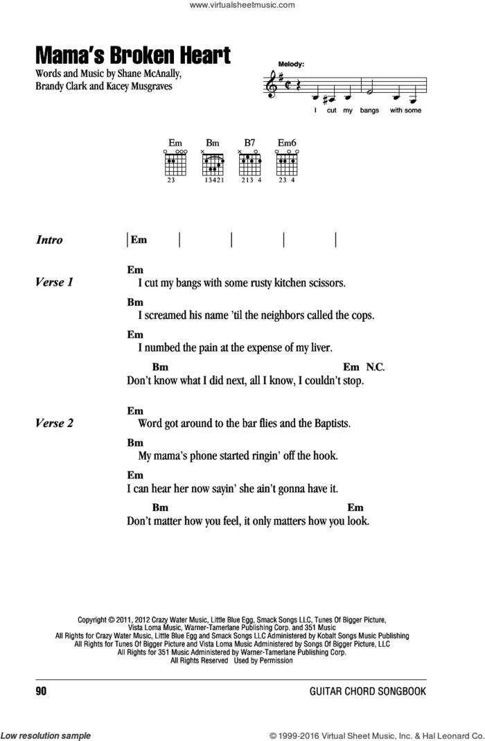 Mama's Broken Heart sheet music for guitar (chords) by Miranda Lambert, Brandy Clark, Kacey Musgraves and Shane McAnally, intermediate skill level