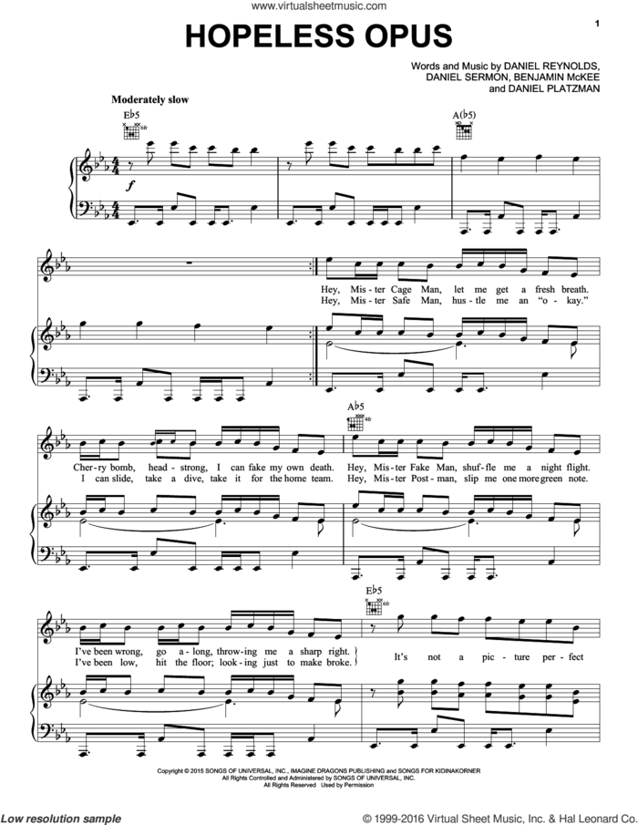 Hopeless Opus sheet music for voice, piano or guitar by Imagine Dragons, Benjamin McKee, Daniel Platzman, Daniel Reynolds and Daniel Sermon, intermediate skill level