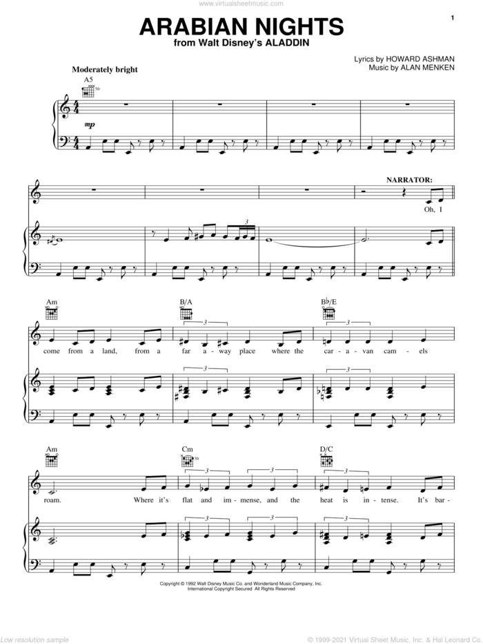 Arabian Nights (from Aladdin) sheet music for voice, piano or guitar by Alan Menken and Howard Ashman, intermediate skill level