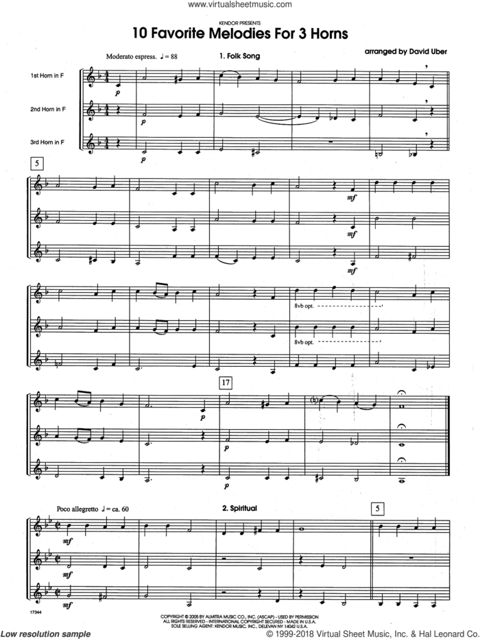 10 Favorite Melodies For 3 Horns (COMPLETE) sheet music for horn trio by David Uber, classical score, intermediate skill level