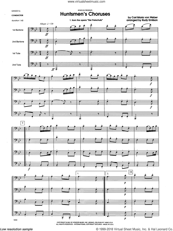 Huntsmen's Choruses (COMPLETE) sheet music for brass quartet by Carl Maria Von Weber and Rudy Emilson, classical score, intermediate skill level