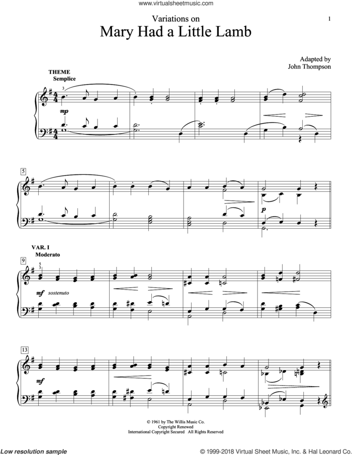 Variations On Mary Had A Little Lamb sheet music for piano solo (elementary) by John Thompson, beginner piano (elementary)