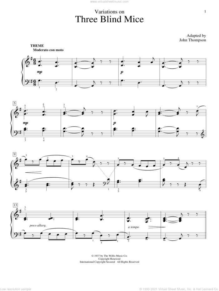 Variations On Three Blind Mice sheet music for piano solo (elementary) by John Thompson, beginner piano (elementary)