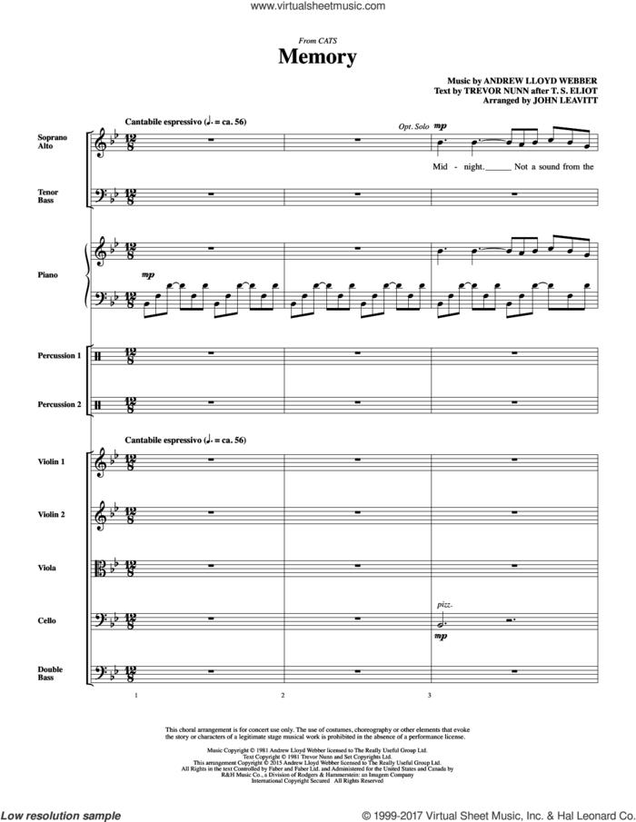 Memory (from Cats) (arr. John Leavitt) (COMPLETE) sheet music for orchestra/band by Andrew Lloyd Webber, Barbra Streisand, John Leavitt and Trevor Nunn, wedding score, intermediate skill level