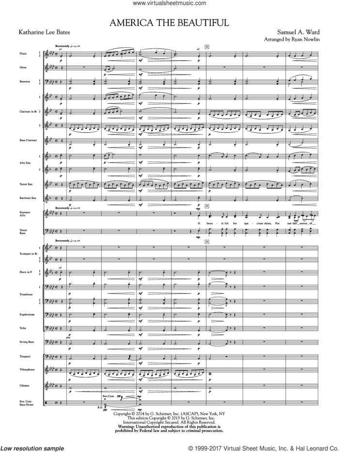 America, the Beautiful (COMPLETE) sheet music for orchestra/band by Samuel Augustus Ward, Katherine Lee Bates and Ryan Nowlin, intermediate skill level