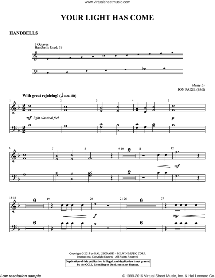 Your Light Has Come sheet music for orchestra/band (handbells) by Jon Paige, intermediate skill level