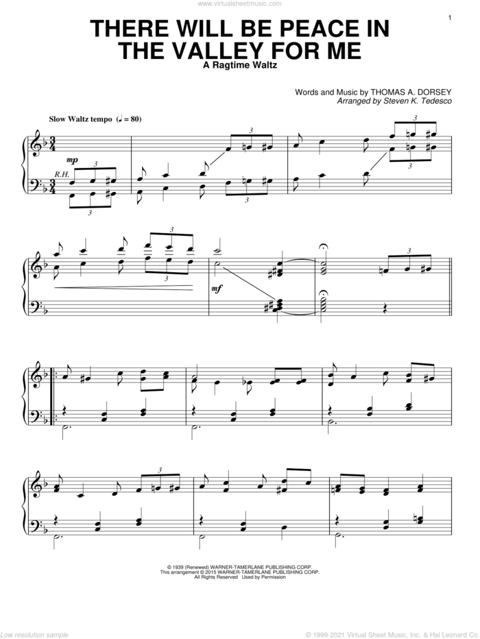 There Will Be Peace In The Valley For Me [Ragtime version] sheet music for piano solo by Tommy Dorsey, Steven K. Tedesco and Elvis Presley, intermediate skill level
