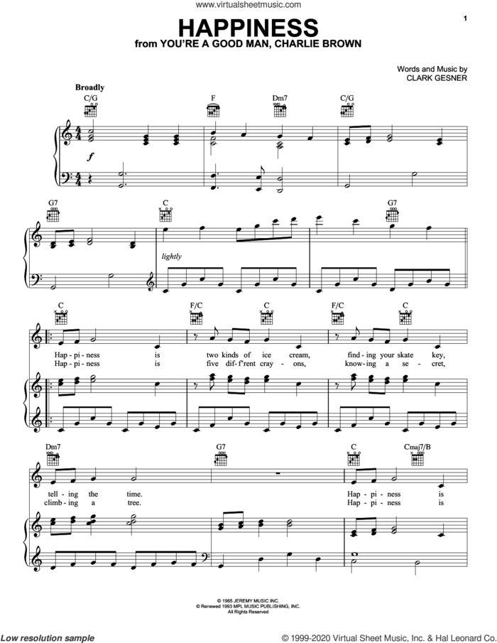 Happiness sheet music for voice, piano or guitar by Clark Gesner, intermediate skill level