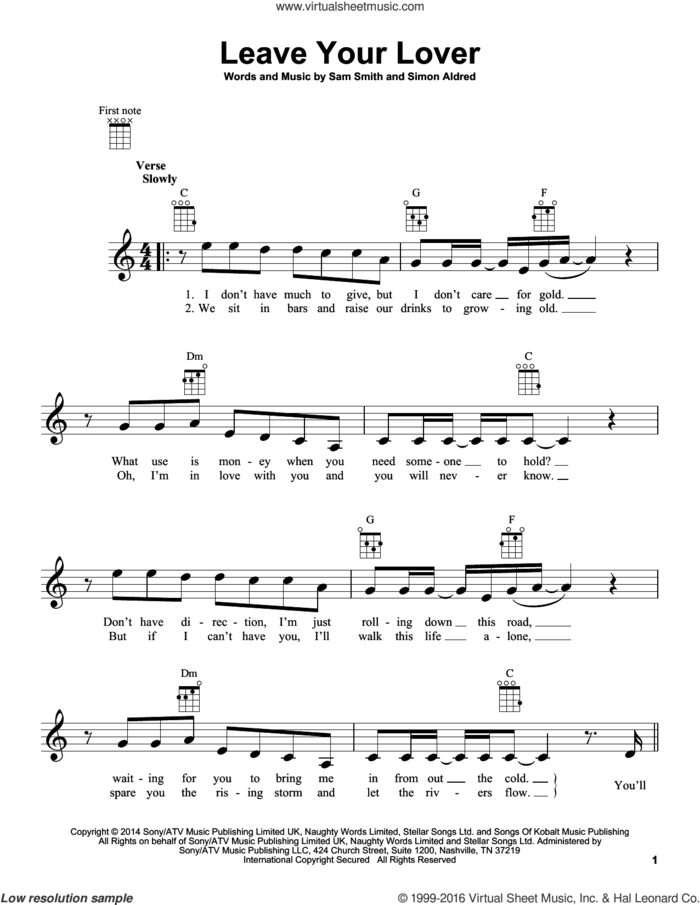 Leave Your Lover sheet music for ukulele by Sam Smith and Simon Aldred, intermediate skill level