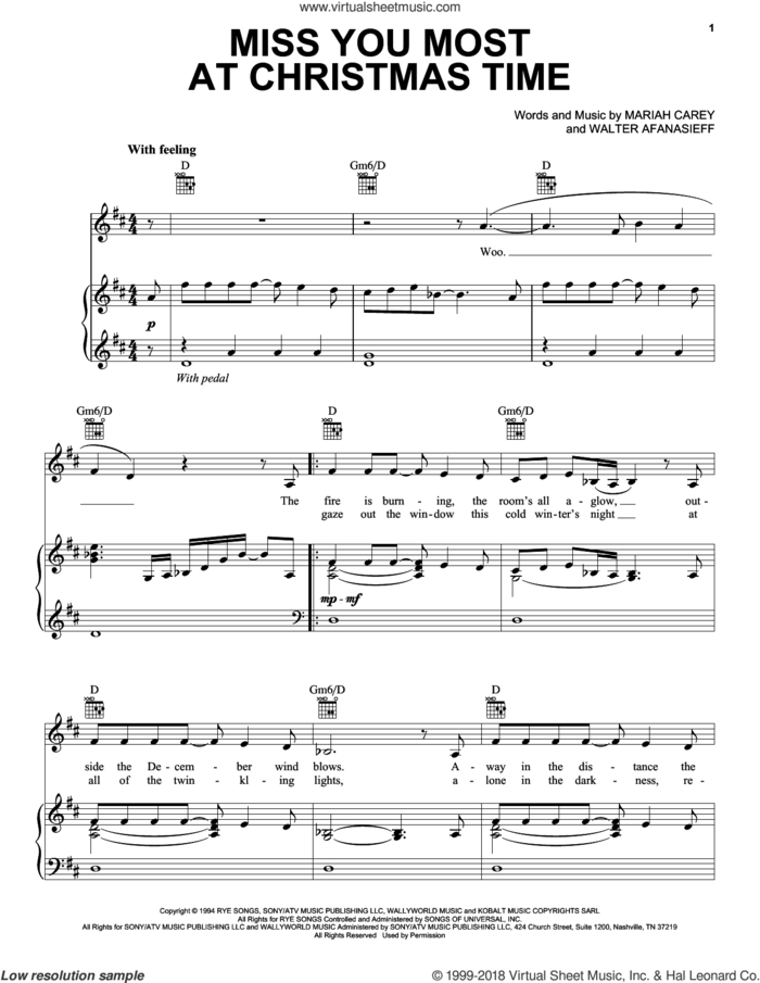 Miss You Most At Christmas Time sheet music for voice, piano or guitar by Mariah Carey and Walter Afanasieff, intermediate skill level