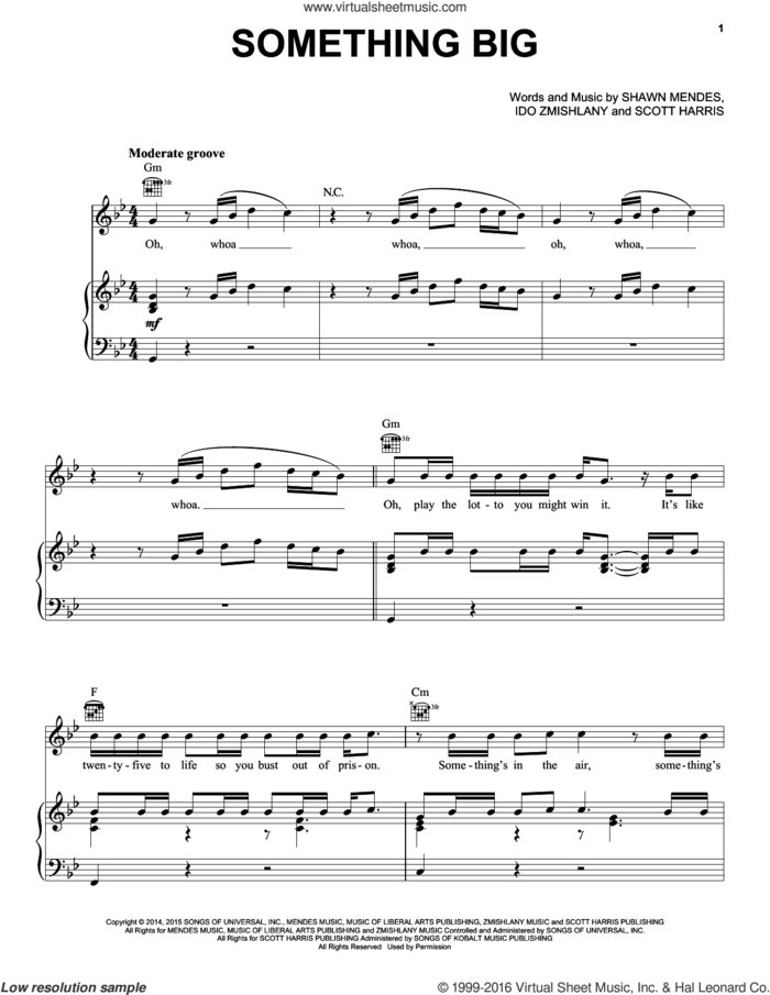 Something Big sheet music for voice, piano or guitar by Shawn Mendes, Ido Zmishlany and Scott Harris, intermediate skill level