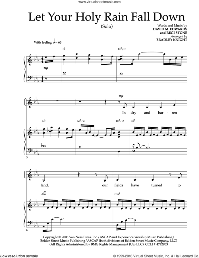 Let Your Holy Rain Fall Down sheet music for voice and piano by Regi Stone and David Edwards, intermediate skill level