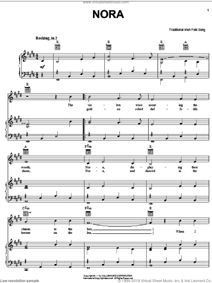 Nora sheet music for voice, piano or guitar, intermediate skill level