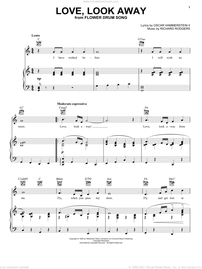 Love, Look Away sheet music for voice, piano or guitar by Rodgers & Hammerstein, Flower Drum Song (Musical), Oscar II Hammerstein and Richard Rodgers, intermediate skill level