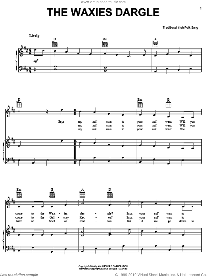 The Waxies Dargle sheet music for voice, piano or guitar, intermediate skill level