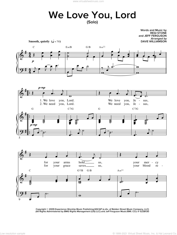 We Love You Lord sheet music for voice and piano by Regi Stone and Jeffrey Ferguson, intermediate skill level