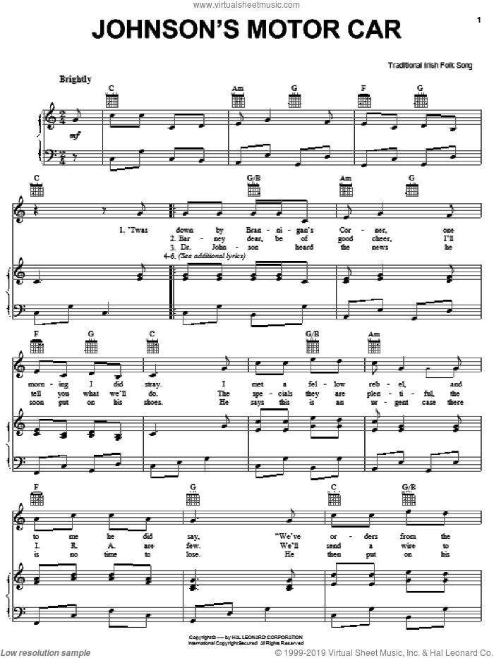Johnson's Motor Car sheet music for voice, piano or guitar, intermediate skill level