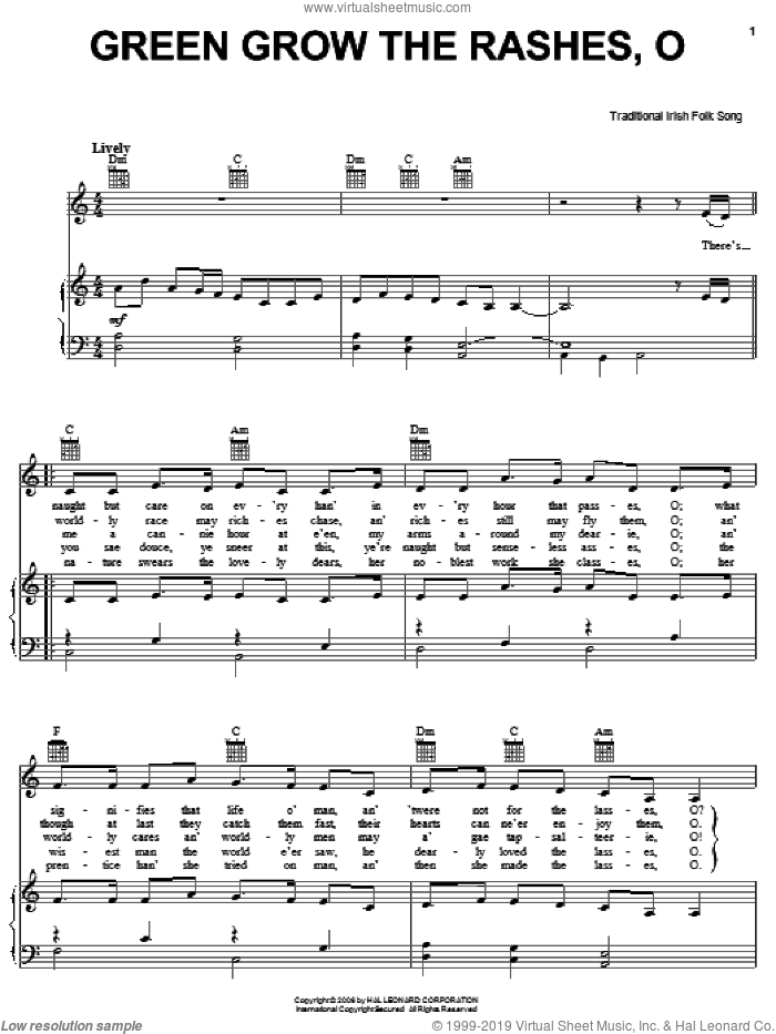 Green Grow The Rushes-O sheet music for voice, piano or guitar, intermediate skill level