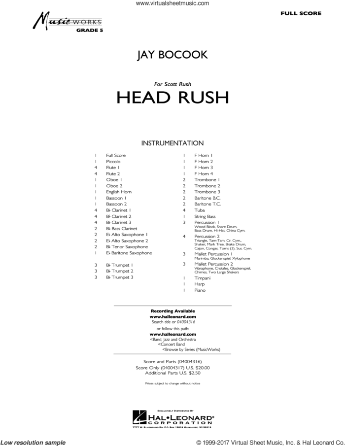 Head Rush (COMPLETE) sheet music for concert band by Jay Bocook, intermediate skill level