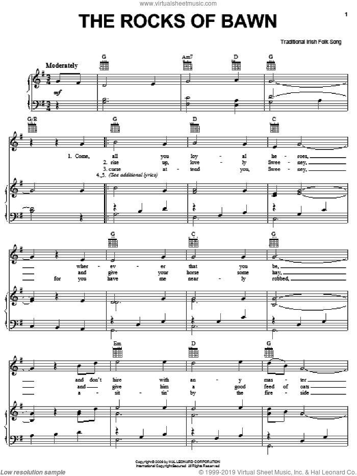 The Rocks Of Bawn sheet music for voice, piano or guitar, intermediate skill level