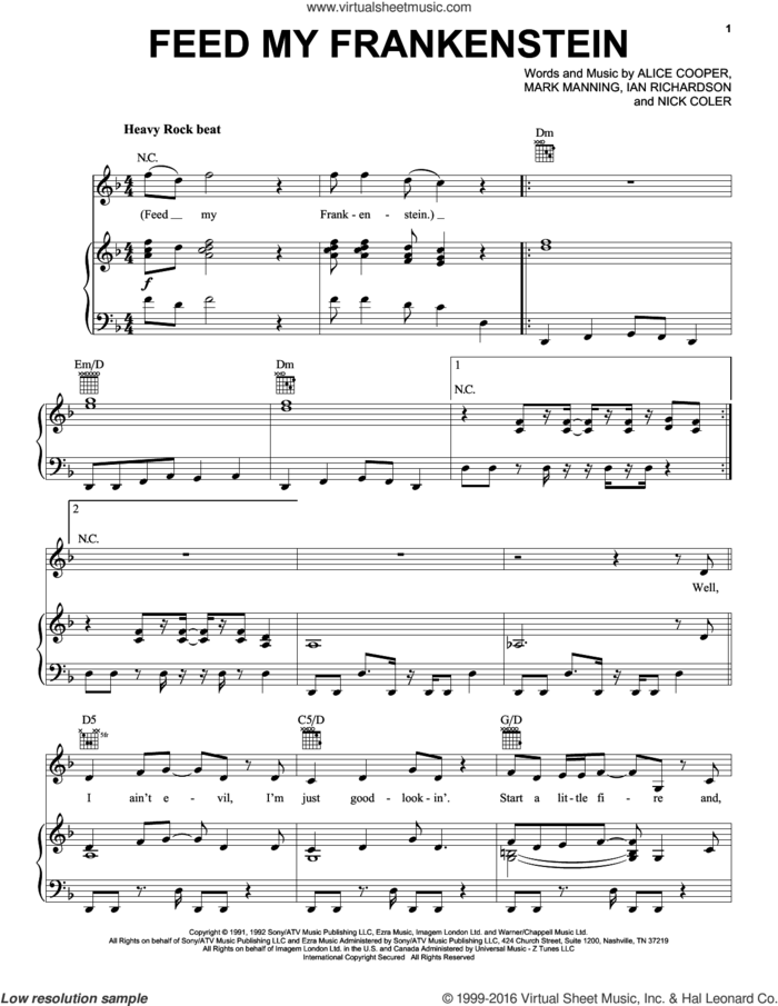 Feed My Frankenstein sheet music for voice, piano or guitar by Alice Cooper, Ian Richardson, Mark Manning and Nick Coler, intermediate skill level