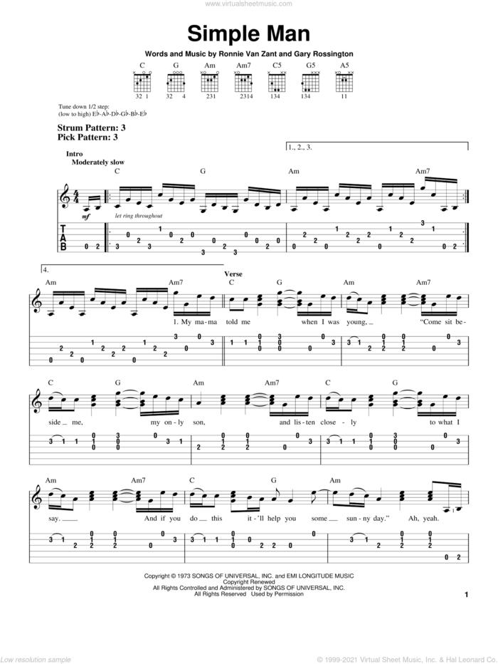 Simple Man sheet music for guitar solo (easy tablature) by Lynyrd Skynyrd, Shinedown, Gary Rossington and Ronnie Van Zant, easy guitar (easy tablature)