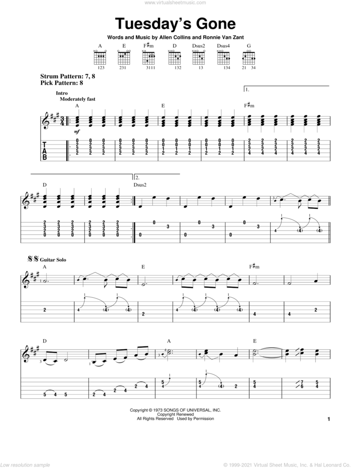 Tuesday's Gone sheet music for guitar solo (easy tablature) by Lynyrd Skynyrd, Allen Collins and Ronnie Van Zant, easy guitar (easy tablature)