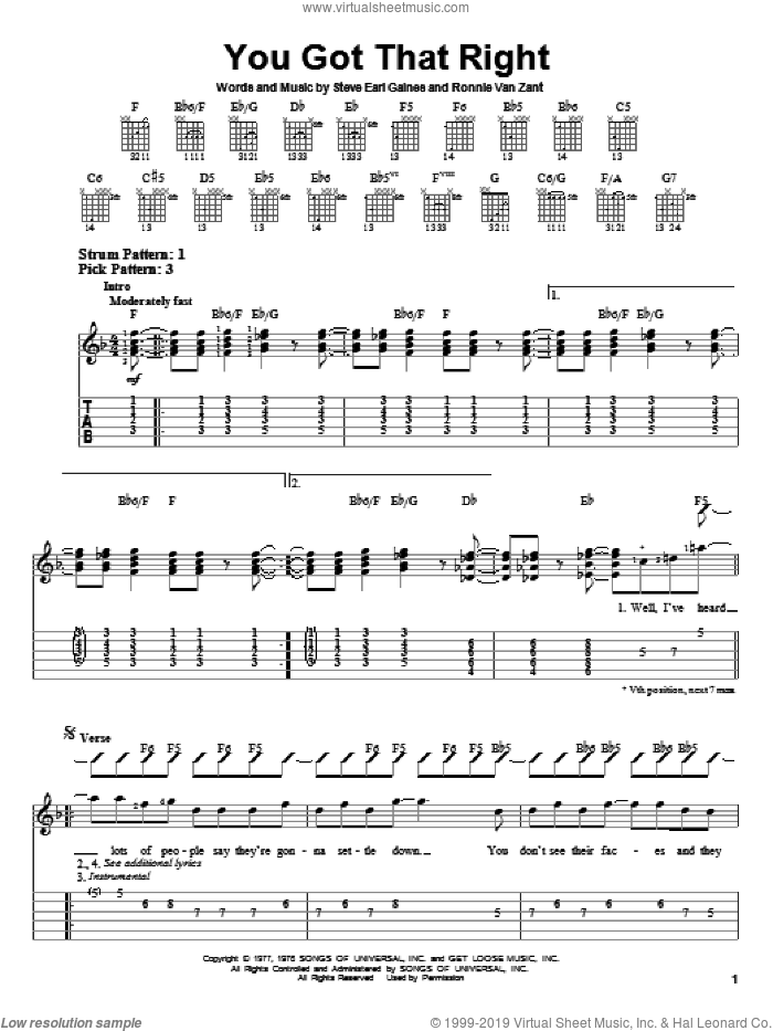 You Got That Right sheet music for guitar solo (easy tablature) by Lynyrd Skynyrd, Ronnie Van Zant and Steve Gaines, easy guitar (easy tablature)