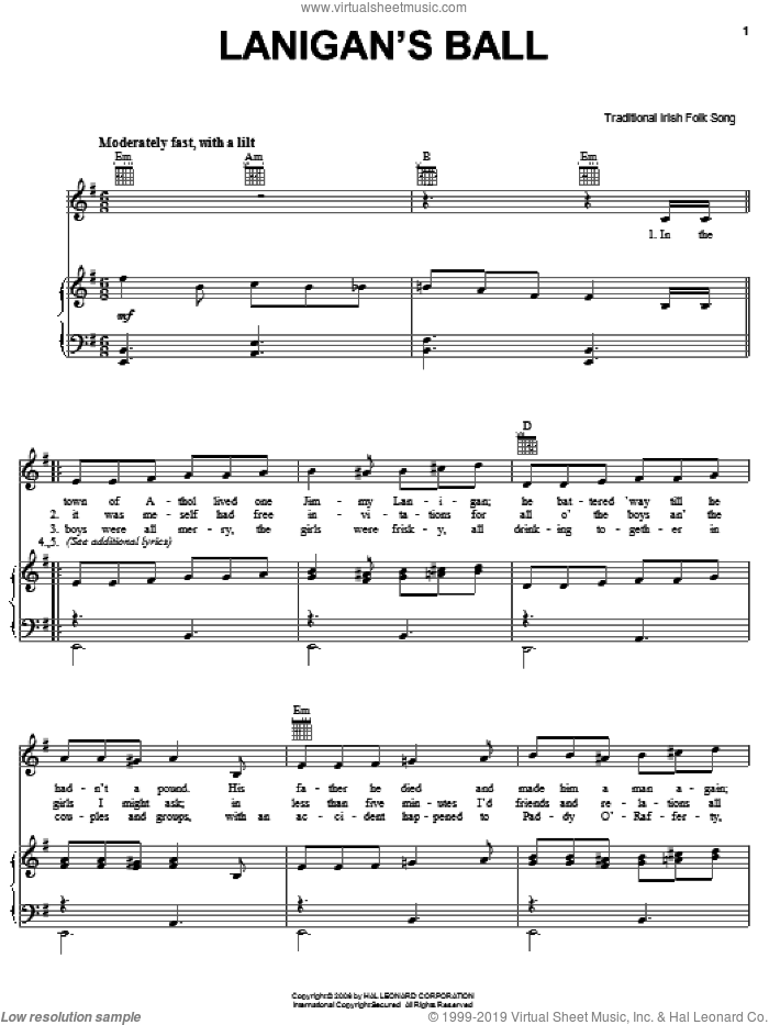 Lanigan's Ball sheet music for voice, piano or guitar, intermediate skill level