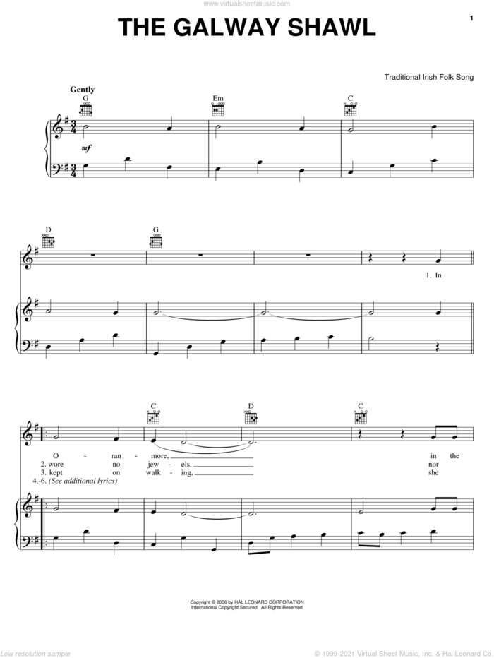 The Galway Shawl sheet music for voice, piano or guitar, intermediate skill level