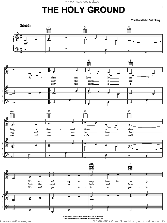 The Holy Ground sheet music for voice, piano or guitar, intermediate skill level
