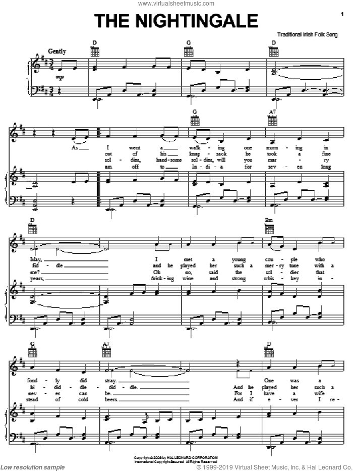 The Nightingale sheet music for voice, piano or guitar, intermediate skill level
