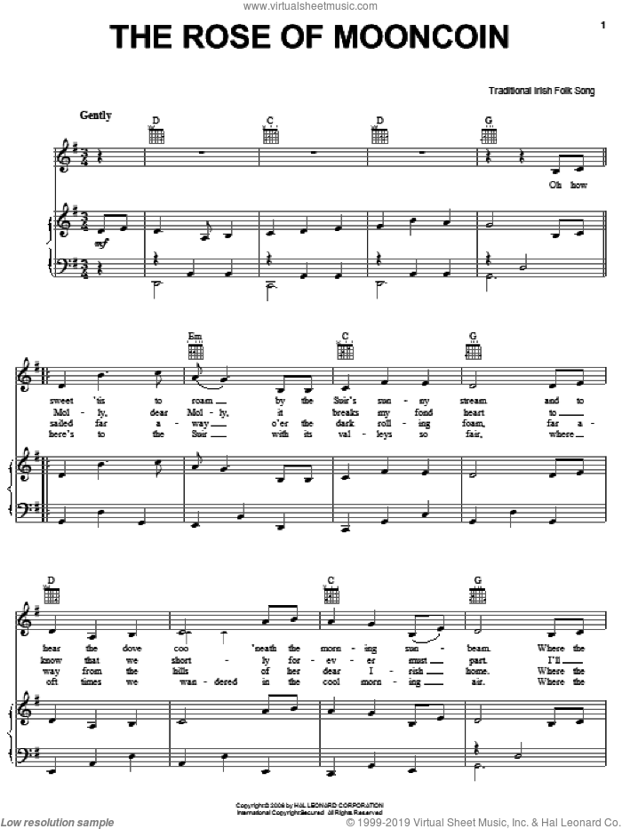 The Rose Of Mooncoin sheet music for voice, piano or guitar, intermediate skill level