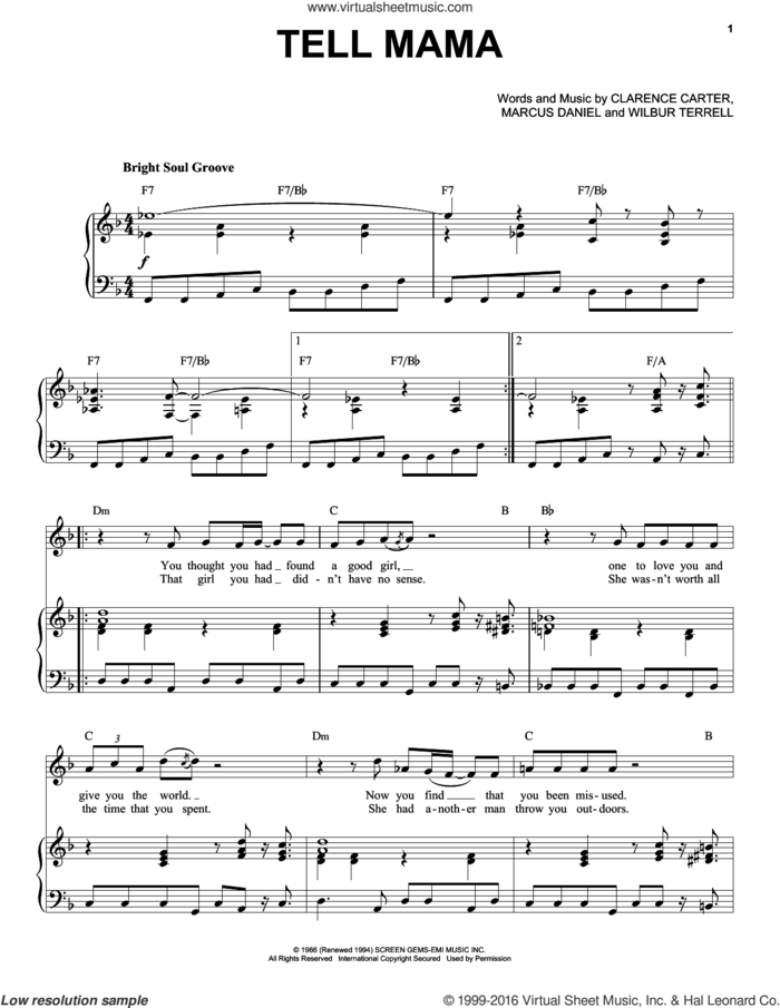 Tell Mama sheet music for voice and piano by Etta James, Clarence Carter, Marcus Daniel and Wilbur Terrell, intermediate skill level