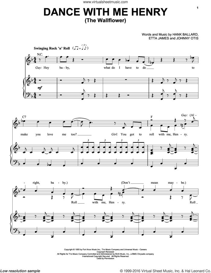 Dance With Me Henry (The Wallflower) sheet music for voice and piano by Etta James, Georgia Gibbs, Hank Ballard and Johnny Otis, intermediate skill level