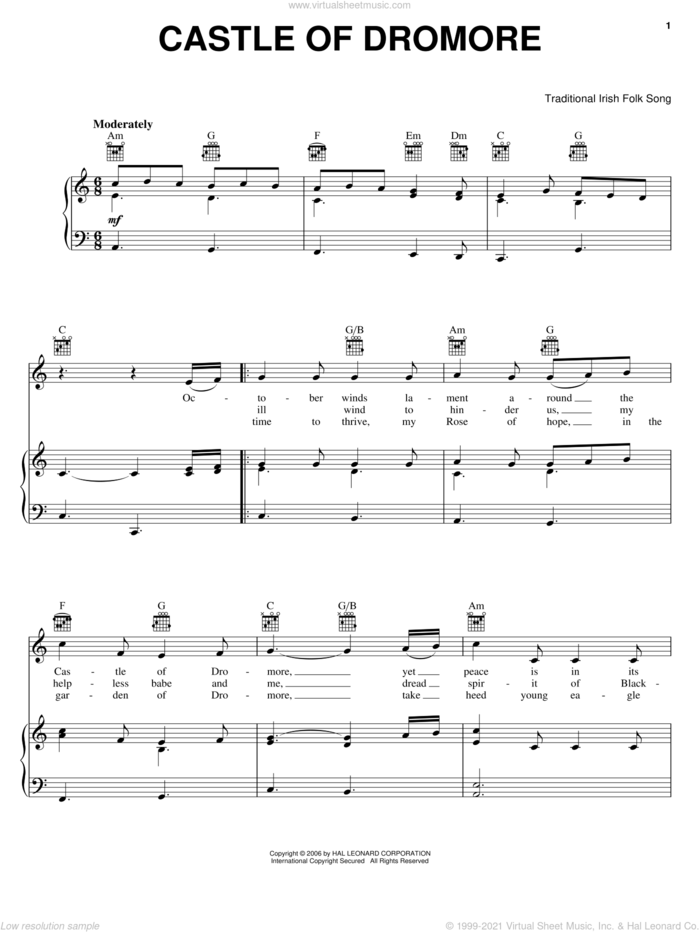 Castle Of Dromore sheet music for voice, piano or guitar, intermediate skill level