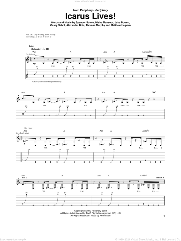 Icarus Lives! sheet music for guitar (tablature) by Periphery, Alexander Bois, Casey Sabol, Jake Bowen, Matthew Halpern, Misha Mansoor, Spencer Sotelo and Thomas Murphy, intermediate skill level