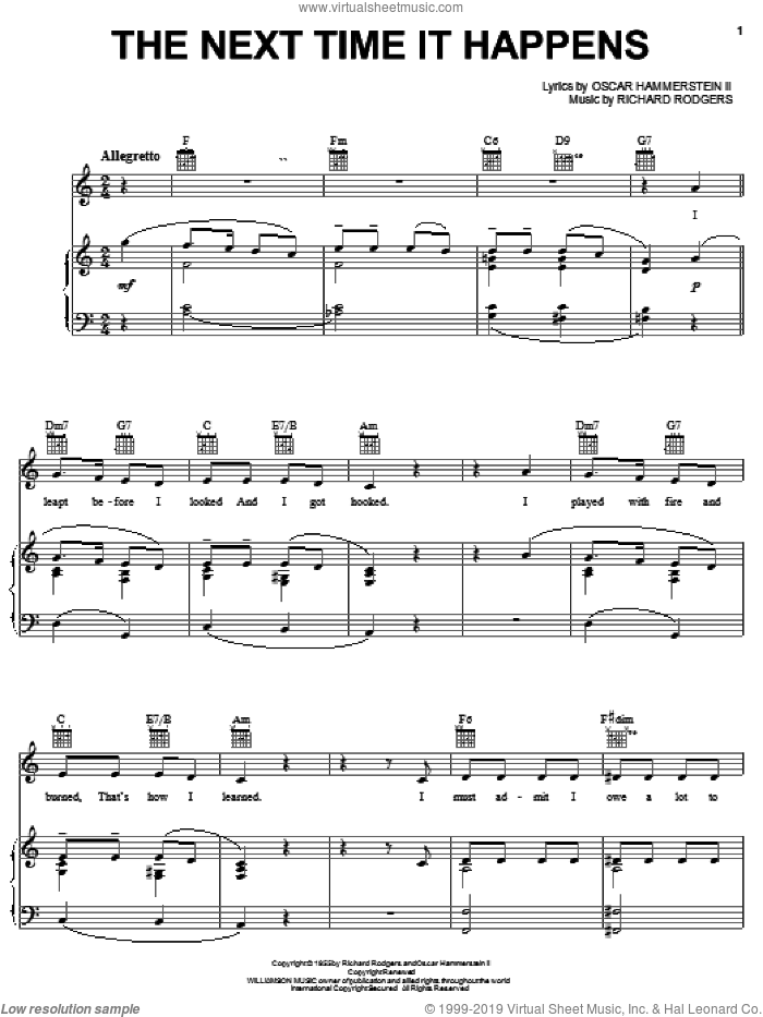 The Next Time It Happens sheet music for voice, piano or guitar by Rodgers & Hammerstein, Pipe Dream (Musical), Oscar II Hammerstein and Richard Rodgers, intermediate skill level