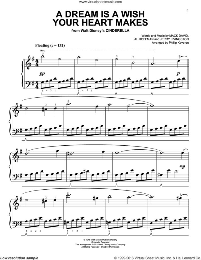 A Dream Is A Wish Your Heart Makes [Classical version] (from Cinderella) (arr. Phillip Keveren) sheet music for piano solo by Al Hoffman, Phillip Keveren, Linda Ronstadt, Jerry Livingston and Mack David, easy skill level