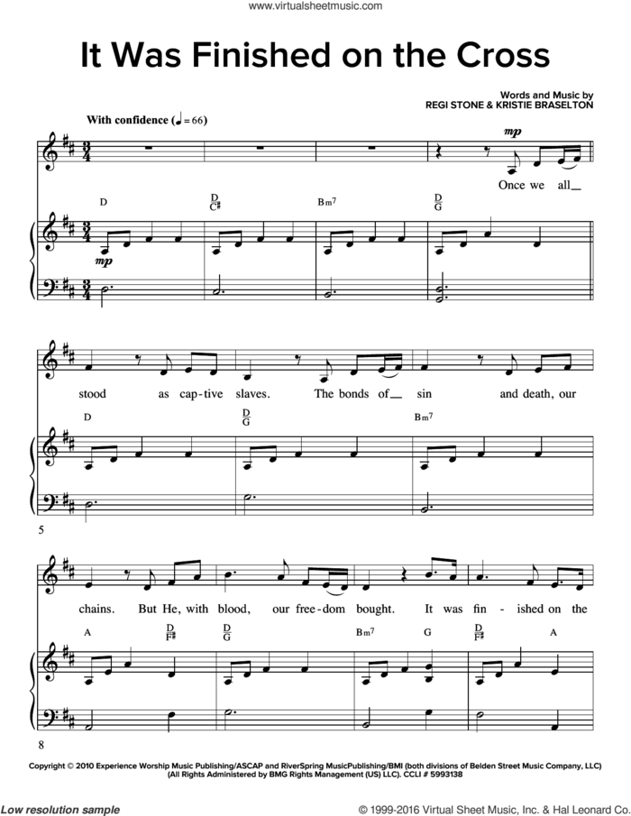 It Was Finished On The Cross sheet music for voice and piano by Regi Stone and Kristie Braselton, intermediate skill level