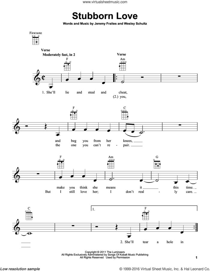 Stubborn Love sheet music for ukulele by The Lumineers, Jeremy Fraites and Wesley Schultz, intermediate skill level