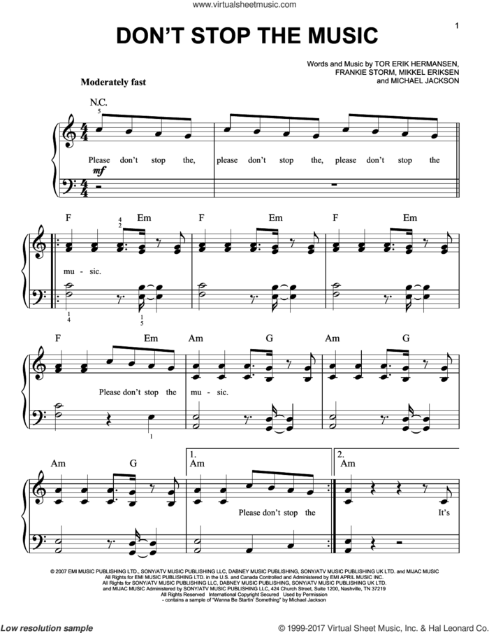 Don't Stop The Music sheet music for piano solo by Rihanna, Frankie Storm, Michael Jackson, Mikkel Eriksen and Tor Erik Hermansen, easy skill level